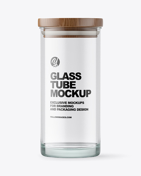 Glass Tube with Wooden Cap Mockup