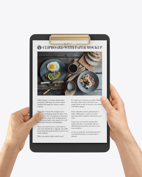 Clipboard with A4 Paper in Hands Mockup