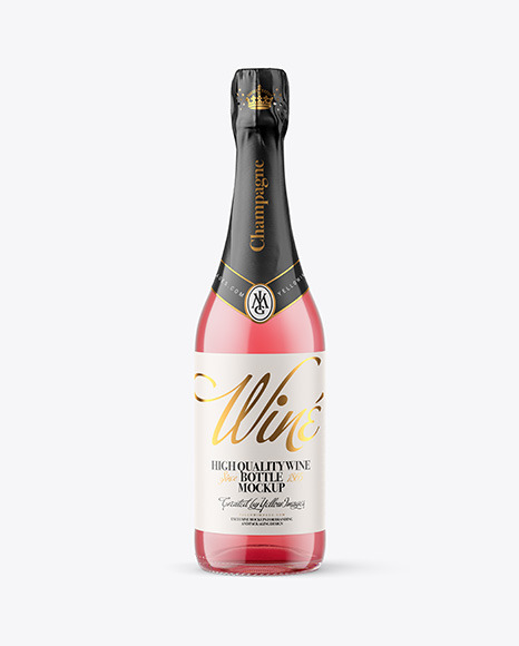 Clear Glass Bottle with Pink Champagne Mockup