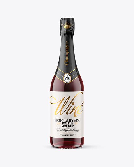 Clear Glass Bottle with Red Champagne Mockup