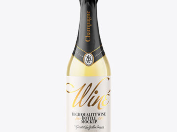 Clear Glass Bottle with White Champagne Mockup