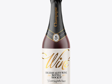 Frosted Glass Bottle with Red Champagne Mockup