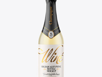 Frosted Glass Bottle with White Champagne Mockup