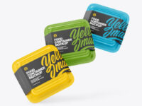 Three Glossy Food Container Mockup