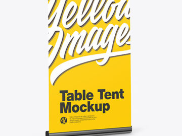 Plastic Table Tent Mockup - Side View
