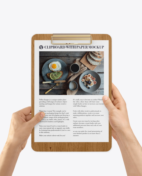 Wooden Clipboard with A4 Paper in Hands Mockup