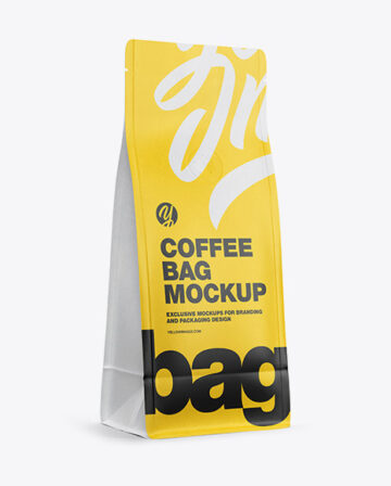 Matte Paper Coffee Bag with Valve Mockup