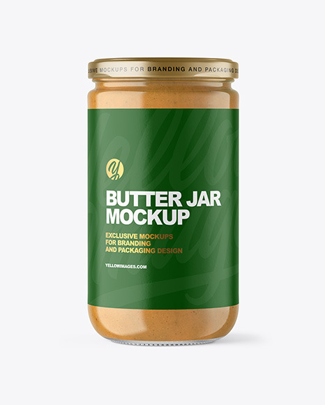 Clear Glass Jar with Peanut Butter Mockup
