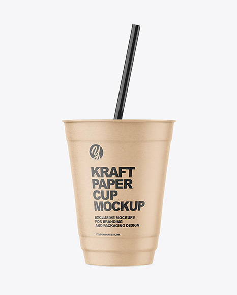 Kraft Paper Cup with Plastic Straw Mockup