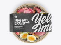 Paper Bowl With Meat Salad Mockup