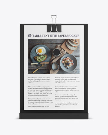Table Tent With Binder Mockup