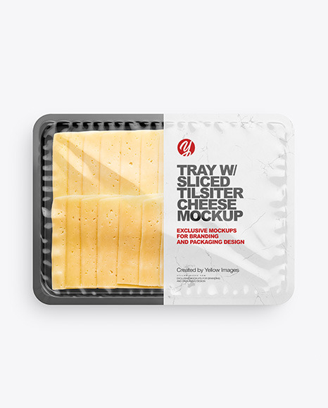 Plastic Tray With Glossy Film & Sliced Tilsiter Cheese Mockup
