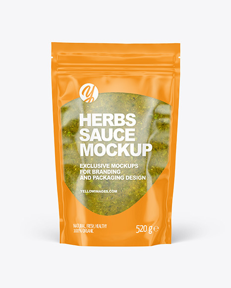 Clear Plastic Pouch w/ Spicy Herbs Sauce Mockup