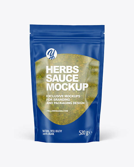 Frosted Plastic Pouch w/ Spicy Herbs Sauce Mockup