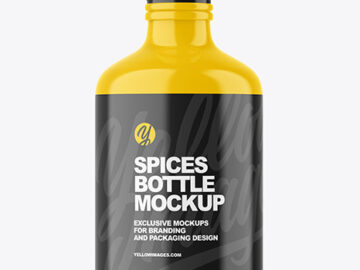 Glossy Plastic Spices Bottle Mockup
