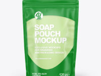 Frosted Plastic Pouch w/ Liquid Soap Mockup