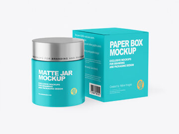 Matte Cosmetic Jar with Paper Box Mockup