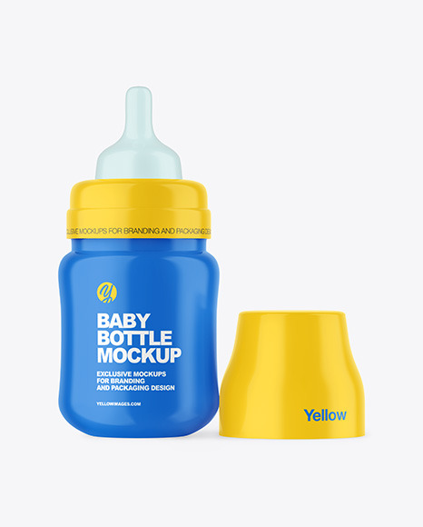 Glossy Baby Bottle with Opened Cap Mockup