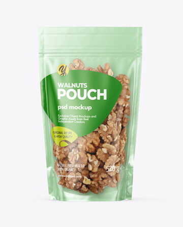 Glossy Stand-up Pouch with Walnuts Mockup
