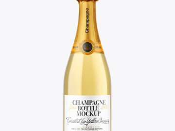 Clear Glass White Champagne Bottle Mockup
