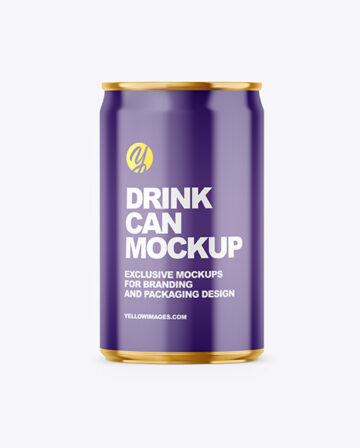 150ml Glossy Drink Can Mockup