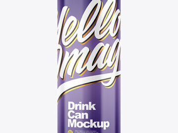 250ml Glossy Drink Can Mockup