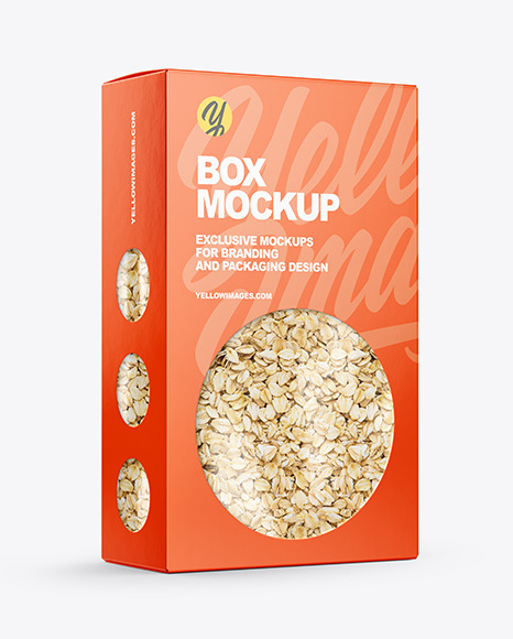 Paper Box with Oat Flakes Mockup