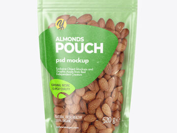 Kraft Stand-up Pouch with Almonds Mockup