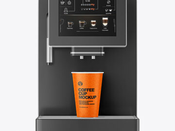 Matte Coffee Cup with Holder and Cofee Machine Mockup