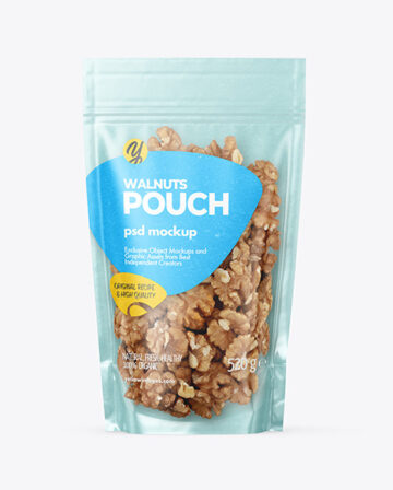 Kraft Stand-up Pouch with Walnuts Mockup