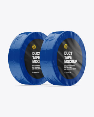 Two Glossy Shrink Wrapped Duct Tapes Mockup