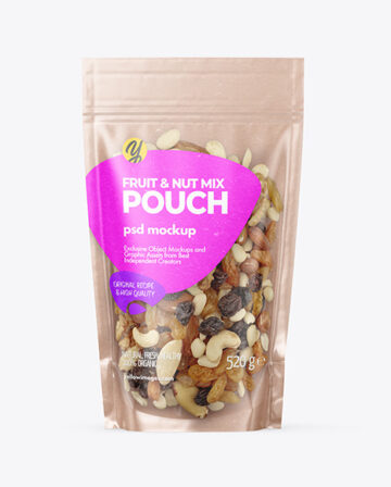 Kraft Stand-up Pouch with Fruit & Nut Mix Mockup