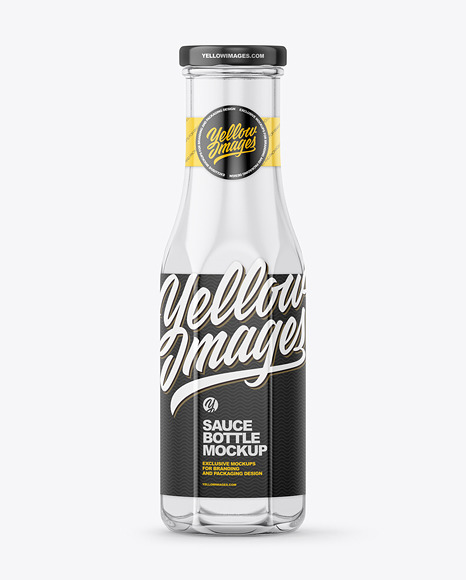 Glass Bottle with Glossy Label Mockup