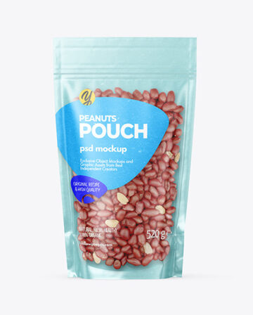 Kraft Stand-up Pouch with Peanuts Mockup