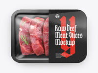 Plastic Tray With Sliced Beef Meat Mockup