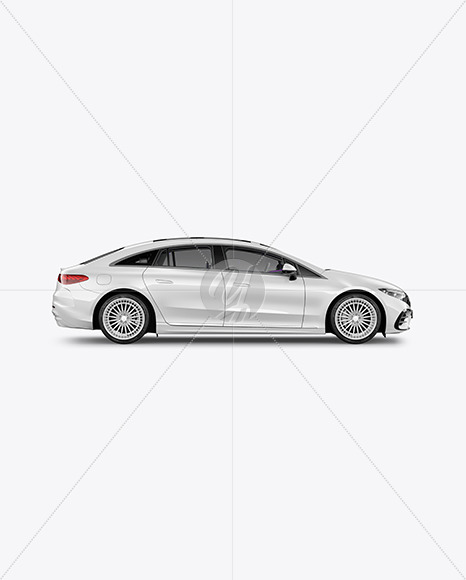 Electric Luxury Car Mockup - Side View