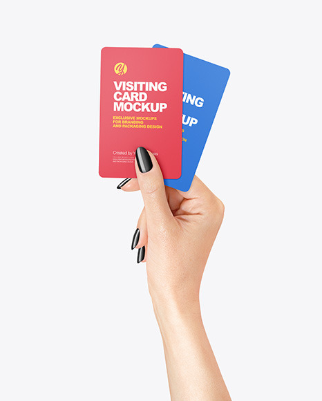 Two Business Cards in a Hand Mockup