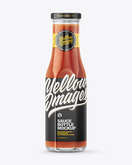Glass Bottle with Red Sauce and Glossy Label Mockup