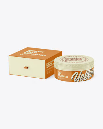 Box with Glossy Cosmetic Tin Can Mockup