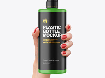 Matte Cosmetic Bottle with Pump in a Hand Mockup