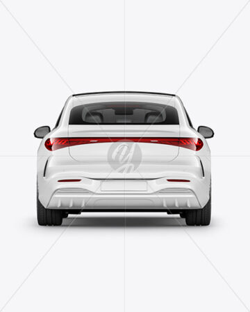 Electric Luxury Car Mockup - Back View