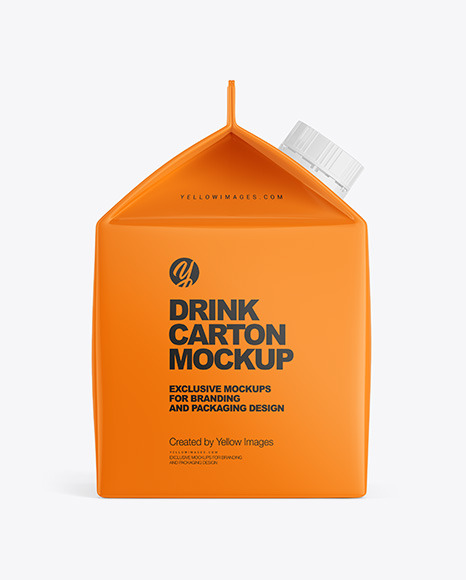 Glossy Drink Carton Pack with Screw Cap Mockup