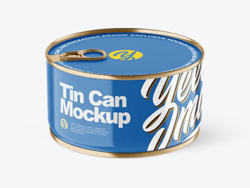 Glossy Tin Can With Pull Tab Mockup