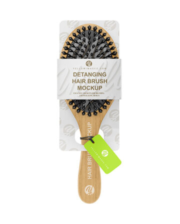 Wooden Hairbrush with Boar and Nylon Bristle Mockup