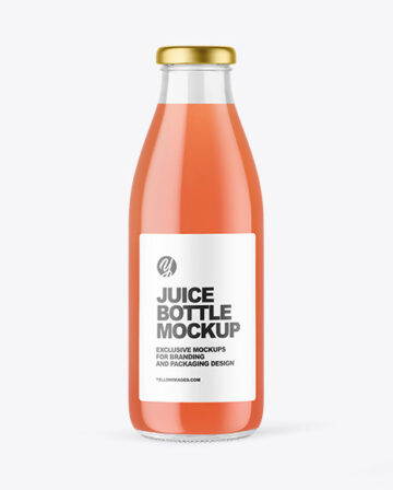 Clear Glass Bottle with Grapefruit Juice Mockup