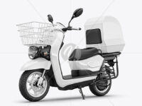 Delivery Scooter Mockup - Half Side View