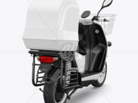 Delivery Scooter Mockup - Back Half Side View