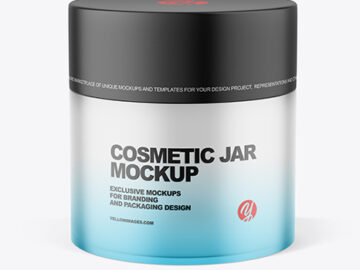 Frosted Glass Cosmetic Jar with Matte Cap Mockup
