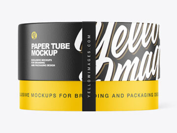 Paper Tube with Label Mockup