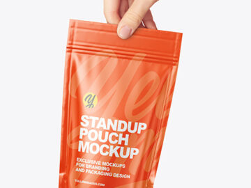 Glossy Stand-up Pouch in a Hand Mockup